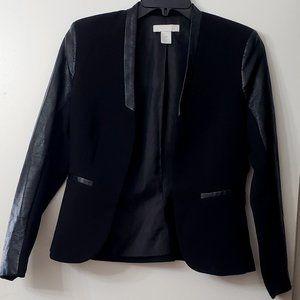 H&M Black Blazer with Faux Leather Trim